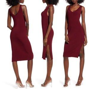 LEITH Plunge Slit Knit Ribbed V Midi Dress XL